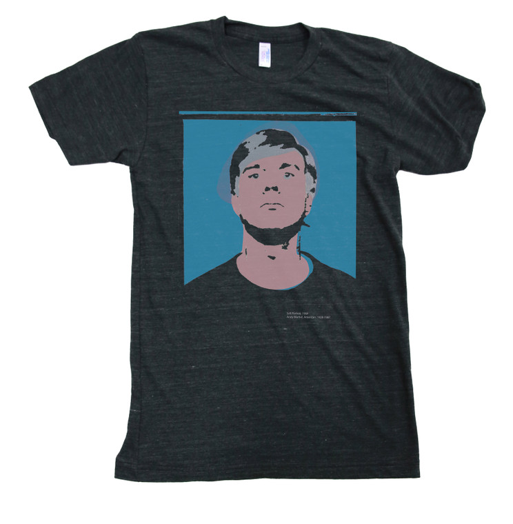 a dark dray heathered t-shirt with a protrait of And y Warhol