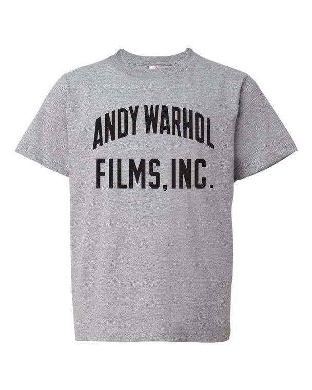 "A heathered gray t-shirt with the words ""Andy Warhol Films Inc"" in black"