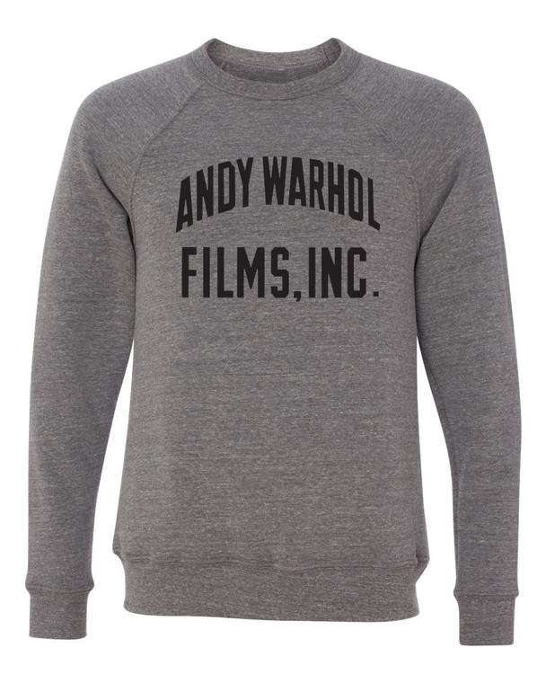 "A heathered gray long sleeved sweatshirt with the words ""Andy Warhol Films In"" in black"
