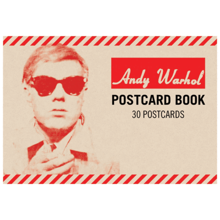 A postcard book with a tan and red cover featuring Andy Warhol's face