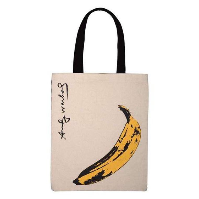 A cream colored canvas tote bag with black handles silkscreened with the image of banana in yellow and black.