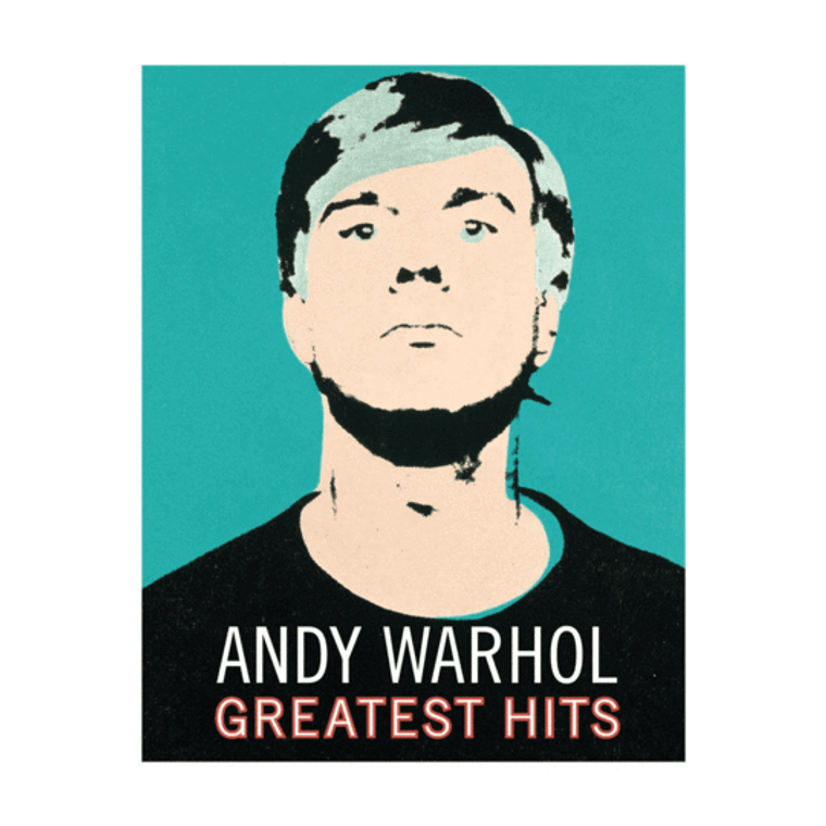 """A green Self Portrait of Andy Warhol with the words"""" Andy Warhol's Greatest Hits"""""""