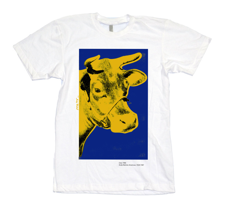 A white t-shirt with the image of a yellow cow head on blue background