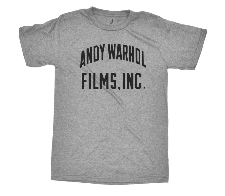 "A heathered gray tee with the words ""Andy Warhol Films Inc"" in black"
