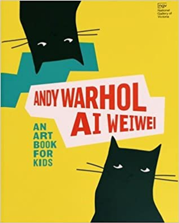 """A book cover with black cats on yellow, with the title """"Andy Warhol and Ai Weiwei: An Art Book for Kids."""""""