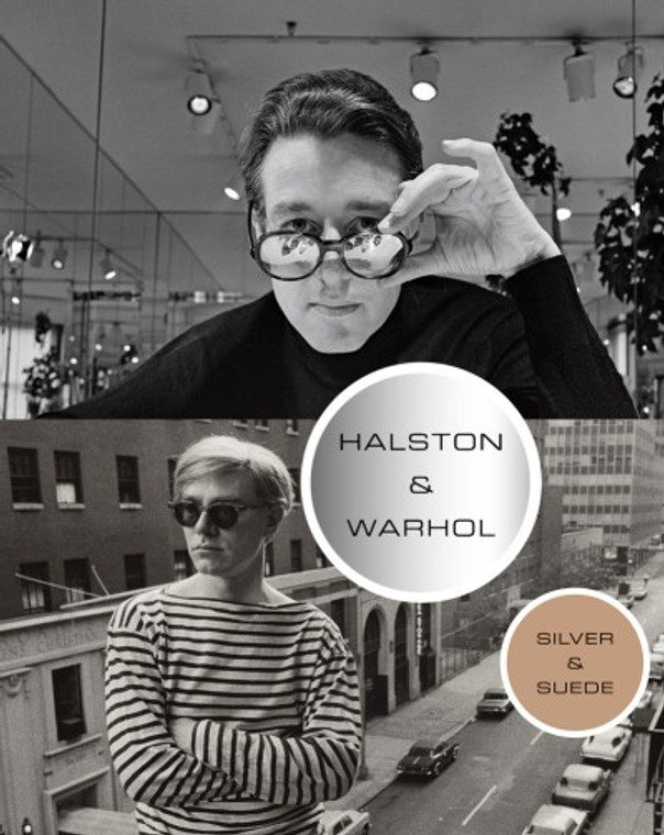 A book cover featuring photos of Halston and Warhol