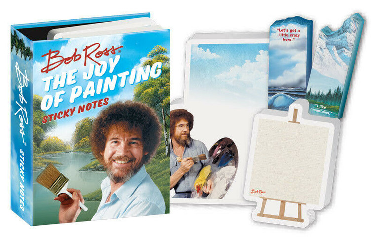 Bob Ross Sticky Notes. Each hardcover memo pad is full of hundreds of colorful self sticking sheets. You can write a note on these stickies and post it anywhere!