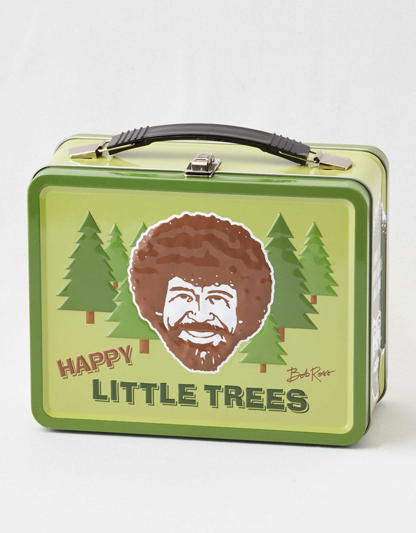 "This box features a thick handle and images on the front, back, and sides. Store all of your stuff in this inspiring box and remember, ""We don't make mistakes, just happy accidents."""