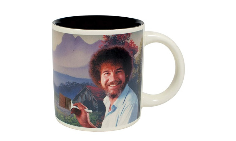 This mug is for fans of the beloved and joyful artist, Bob Ross. When the mug is cold, the image of Bob Ross reminds you to be calm and find time in your busy life to create. When you pour in a hot beverage, a Bob Ross painting is revealed to inspire you.