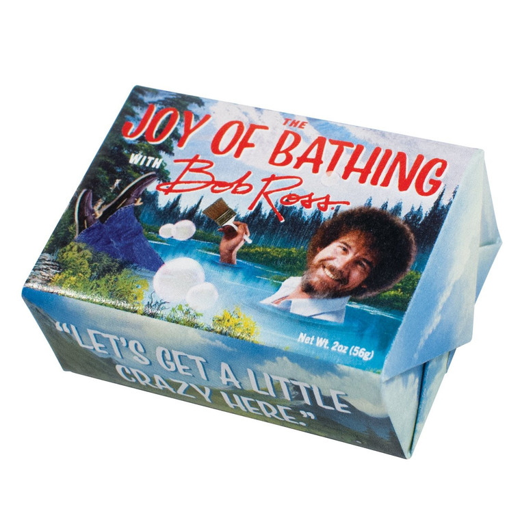 Make some happy little clouds of soap bubbles with this Bob Ross vegetable soap that is made with glycerin, shea butter, cocoa butter, olive oil, grapeseed oil, and exfoliating organic oatmeal.