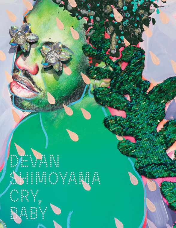 A book cover with a collage portrait in greens and purples, with crystal teardrops