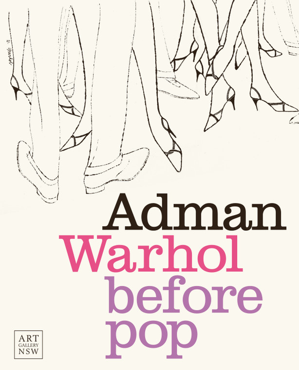 "A book cover featuring a pencil  sketch of peoples legs and the title ""Adman: Warhol before pop"""