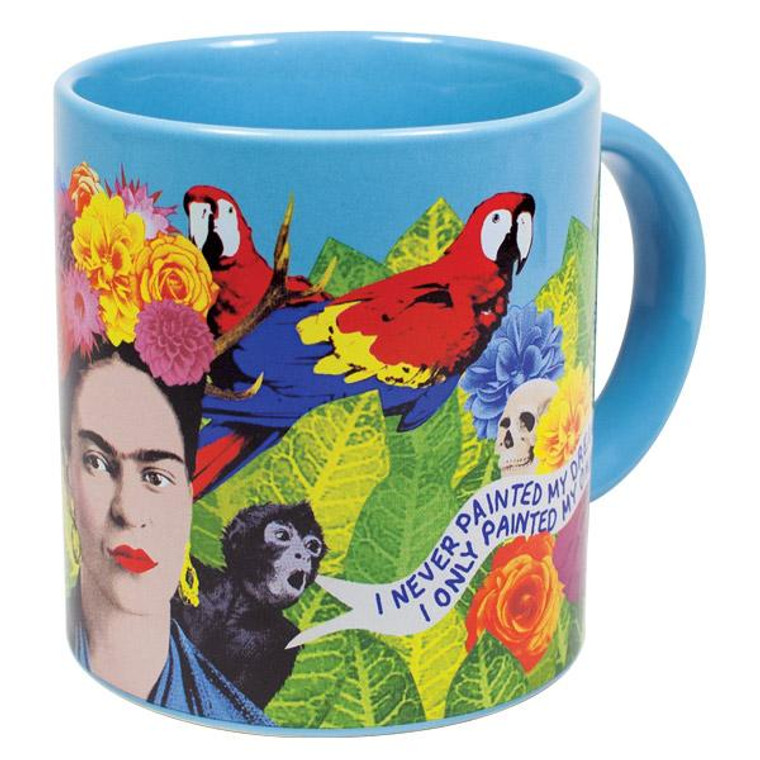 Brightly colored Frida Kahlo mug with quote