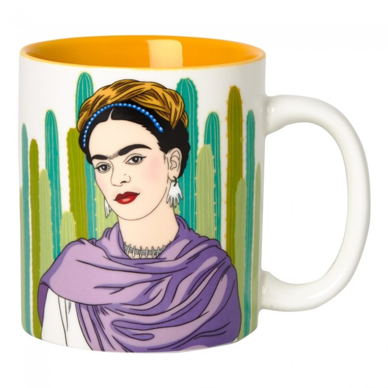 Mug with image of Frida Kahlo in front of a cactus