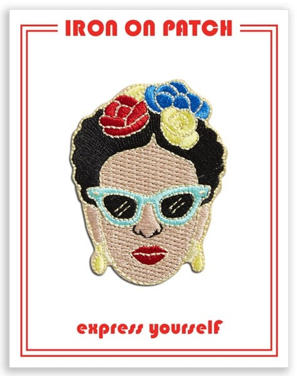 iron-on patch with Frida Kahlo in sunglasses