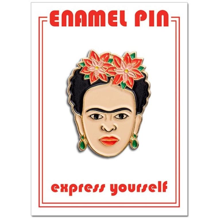 enamel pin featuring image of Frida Kahlo