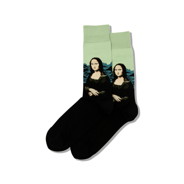 men's socks with image of the Mona Lisa