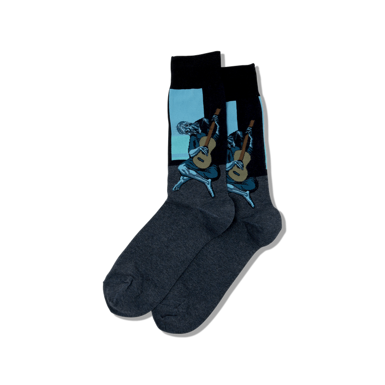 "socks with image of Picasso's ""Guitarist"""