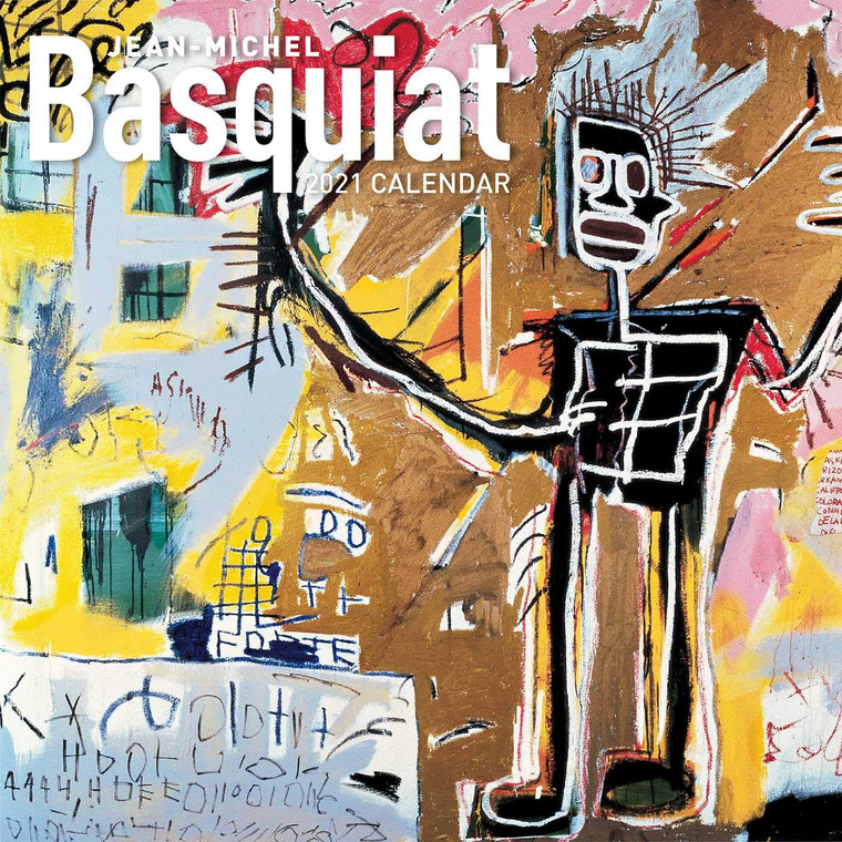 Wall calendar front cover showing a Basquiat work in yellows and tans.
