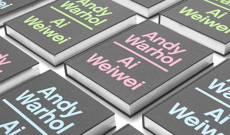 """Gray book covers laid out in a grid, with the title """"Andy Warhol 