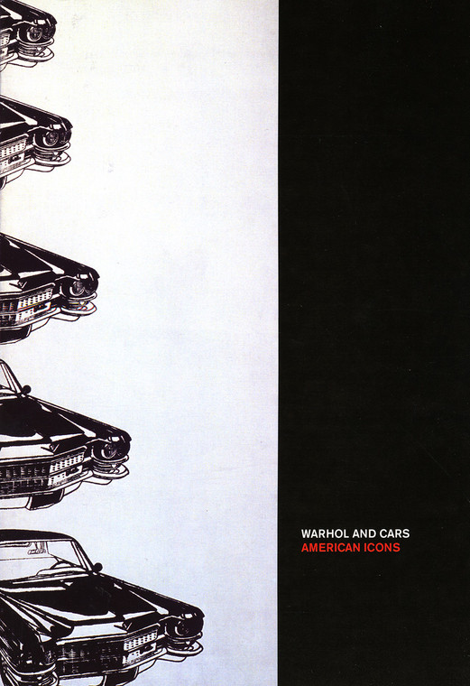 """A book cover featuring Warhol's """"Five Cars"""", which shows the front corner of five cars, alond with a black vertical band with the book title."""