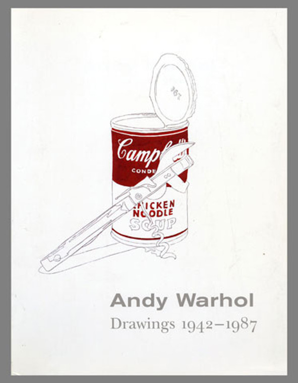 A book with a white cover, featuring a Warhol drawing of a Campbells Soup can open, with a can opener leaning on it.