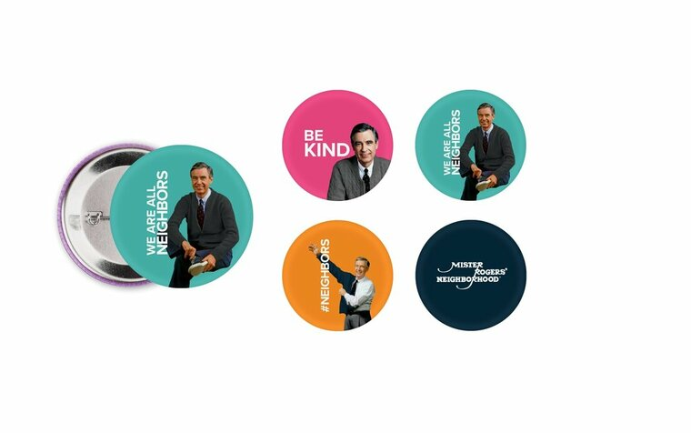 Be reminded and inspired to be kind wherever you go with this set of 4 buttons featuring beloved children's television host Mr. Fred Rogers.