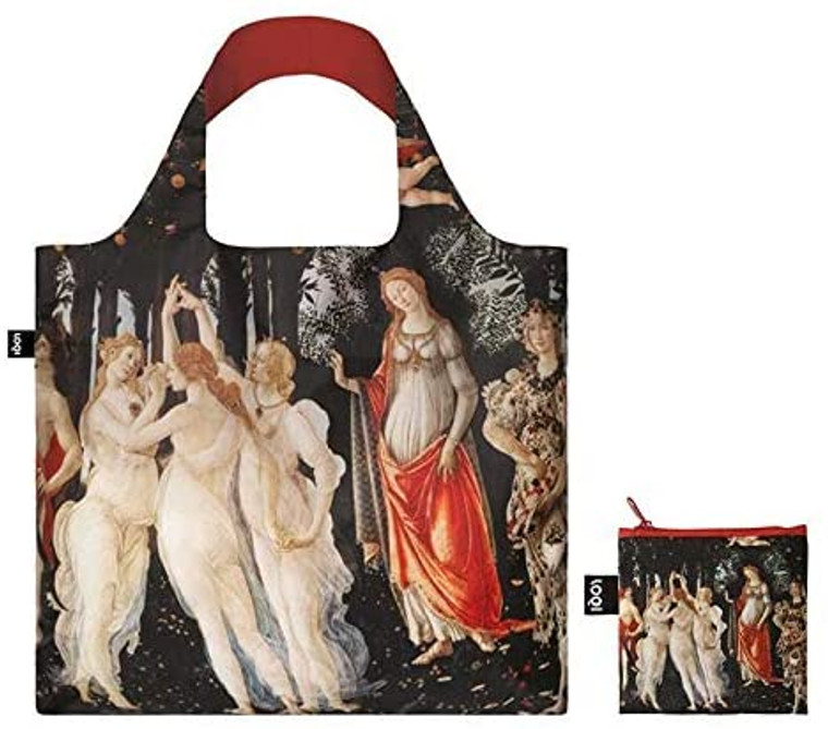 "reusable nylon tote bag featuring the painting ""Primavera"" by Botticelli"