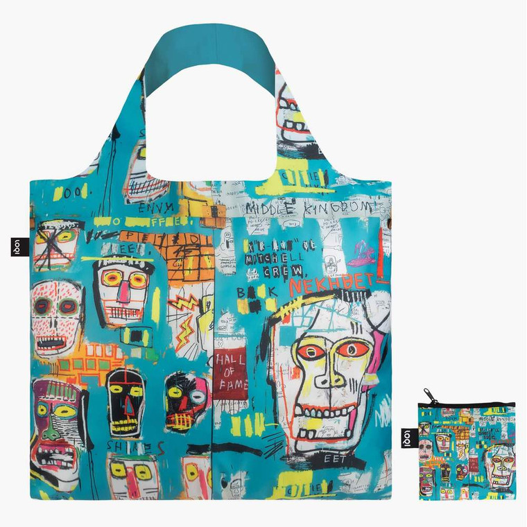nylon tote bag featuring a painting by Basquiat