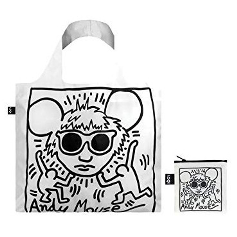 reusable nylon tote bag featuring artwork by Keith Haring