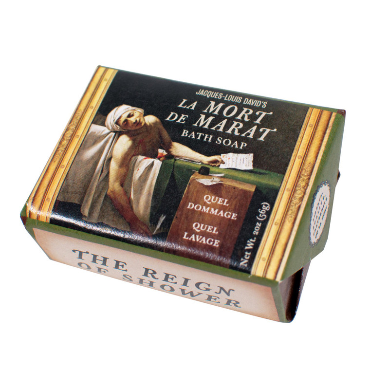 """oatmeal and honey exfoliating bath soap with image of the painting """"The Death of Marat"""""""