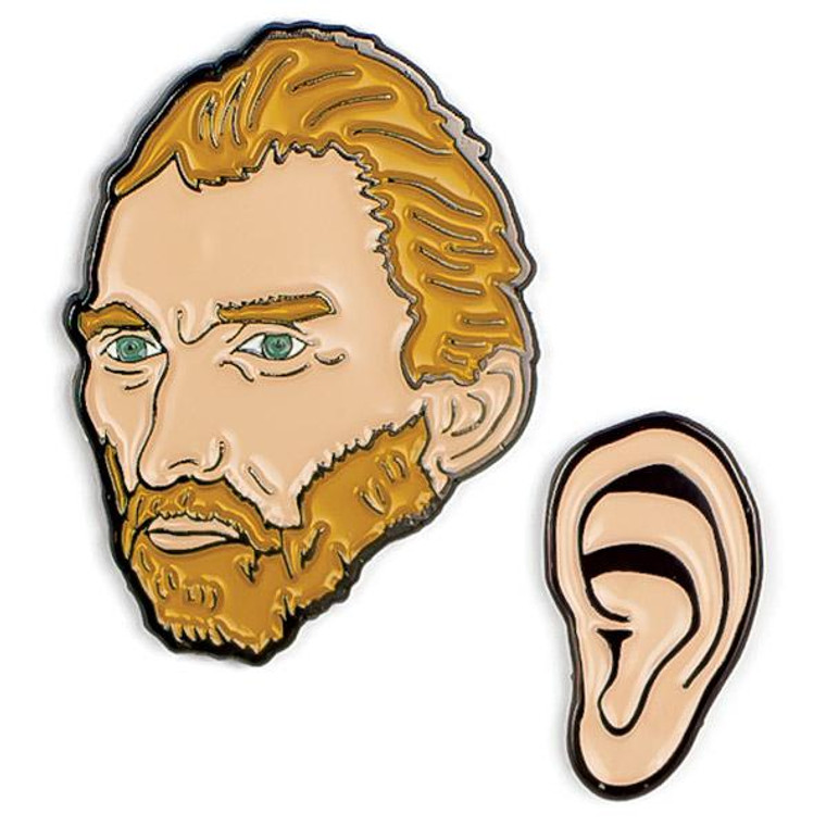 set of 2 enamel pins; one of Vincent Van Gogh, and one of his ear