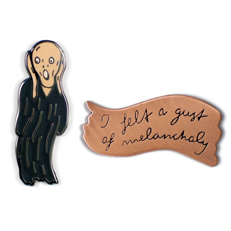"""set of 2 enamel pins; one of Munch's """"The Scream"""" and one of a quote from the artist"""