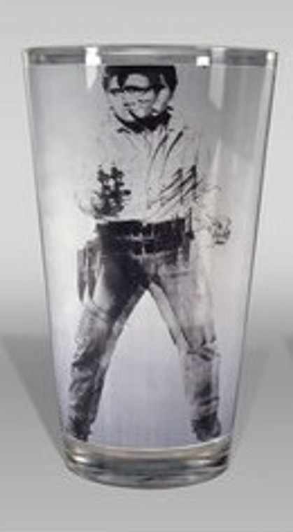 A rendering of a pint glass showing a black and silver portrait of Elvis Presley dressed as a cowboy, gun drawn.