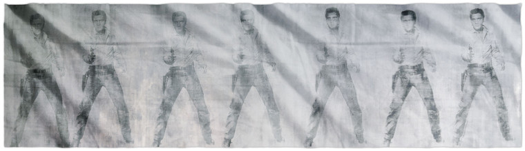 A rectangular scarf showing seven images of Elvis Presley holding a gun in black on silver.