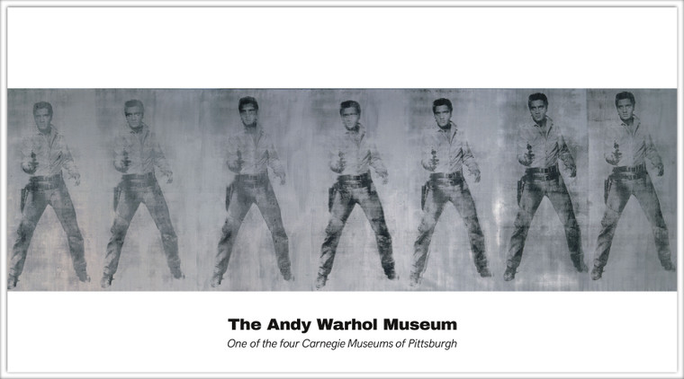 A postcard with seven images of Elvis Presley holding a gun in black on silver, with the name of The Andy Warhol Museum below.