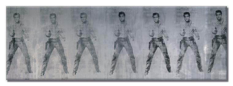 A long horizontal magnet with sever images of Elvis Presley holding a gun in black on silver.