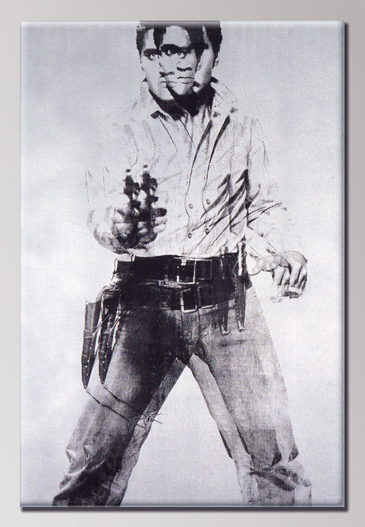A vertical rectangular magnet with an image of Elvis presely holding a gun in black on silver.