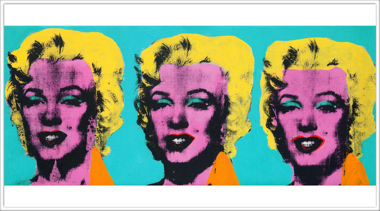 A postcard with three repeating images of Marilyn Monroe with a pink face and bright yellow hair, on a turquoise background.