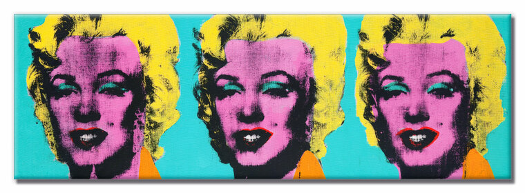 A horizontal rectangular magnet with three image of Marilyn Monroe, with a pink face and yellow hair, on a turquoise background.