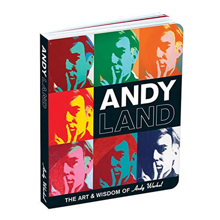 "A book cover with seven multicolor Self Portraits of Andy Warhol and the book title ""Andyland"" in white on black."