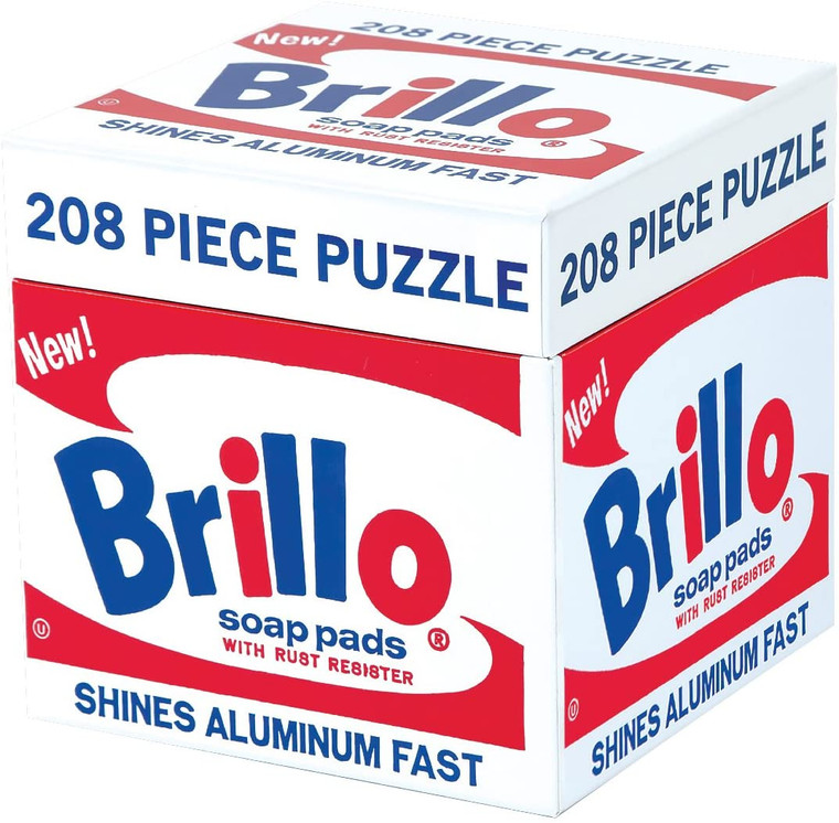A cube box with Andy Warhol's Brillo artwork on all sides in red, white and blue.