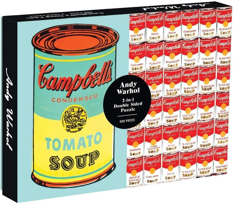 A rectangular puzzle box showing two side-by-side images of Warhol's Campbells Soup Cans.
