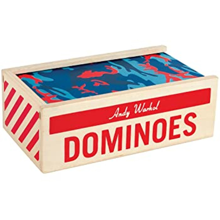 """A tan wooden box with """"Dominoes """"printed n red, with a sliding top printed with red and blue camouflage."""