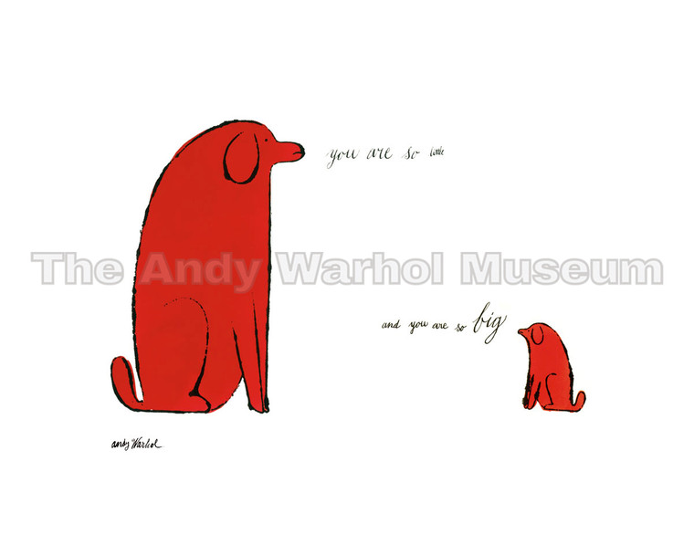 "A large red dog saying ""you are so little"" to a small red dog saying ""you are so big"""