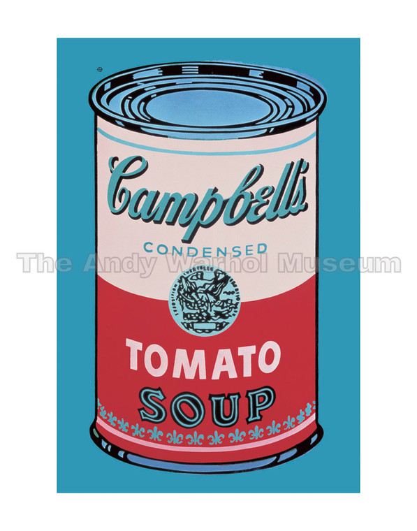 A Campbell's Tomato Soup can with a pink and red label on a blue background