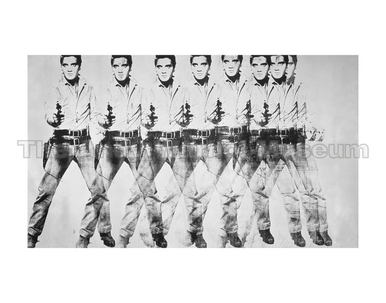 A painting of Elvis pointing a gun eight times, superimposed over one another , in black and silver