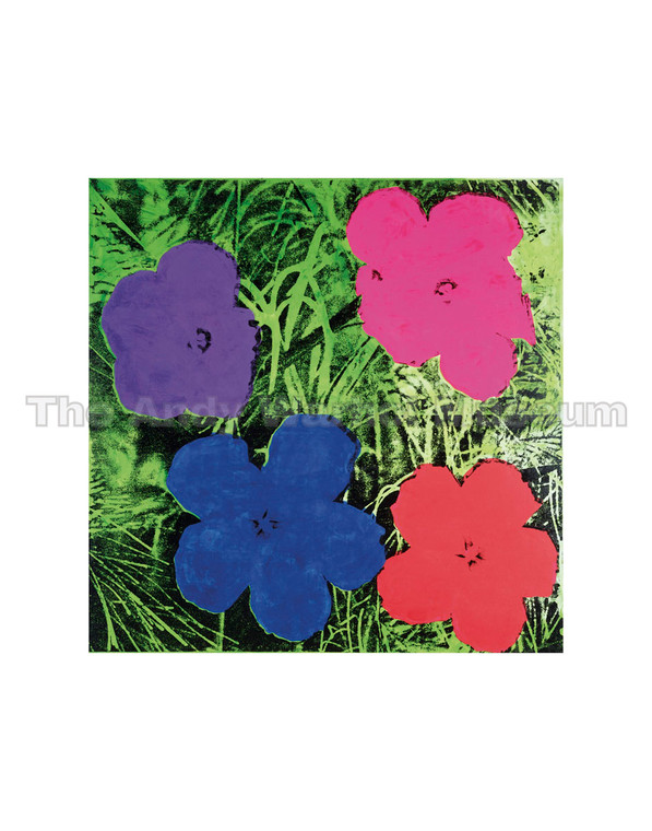 "Four colorful ""pop"" flowers on a green background; 1 purple, 1 pink, 1 blue and 1 red."
