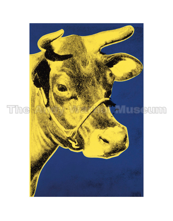 A bright yellow cow's head on blue background