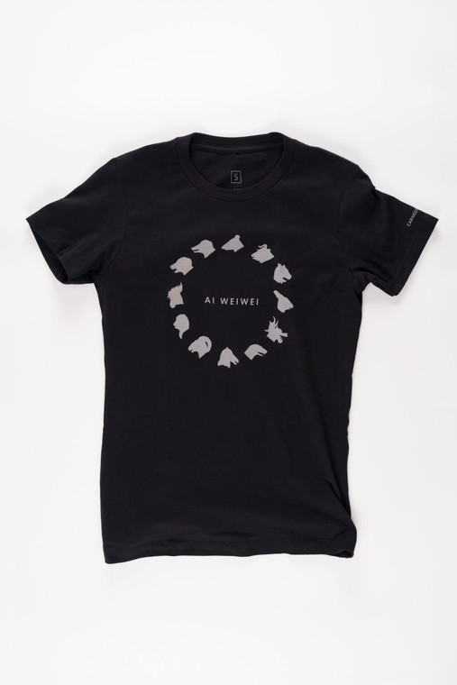 "black t-shirt with animal head silhouettes and ""Ai Weiwei"" text"